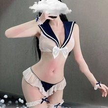 Load image into Gallery viewer, Ultrashort Transparent Sexy Mesh Sailor Suit Bow Bra Shorts Lingerie Set SP130