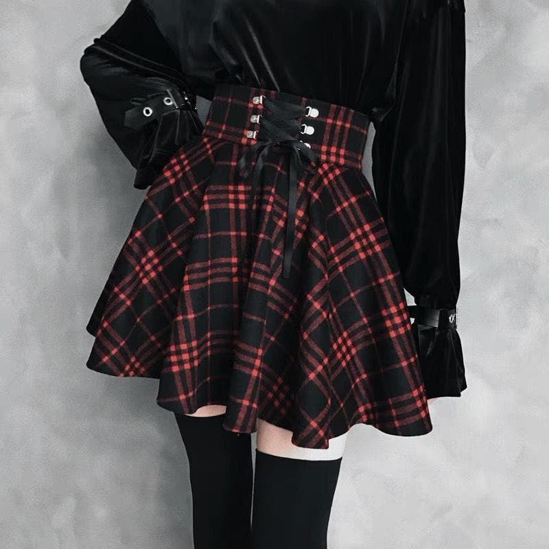 Black-Red Gothic High Waist Laced Plaid Skirt SP13344