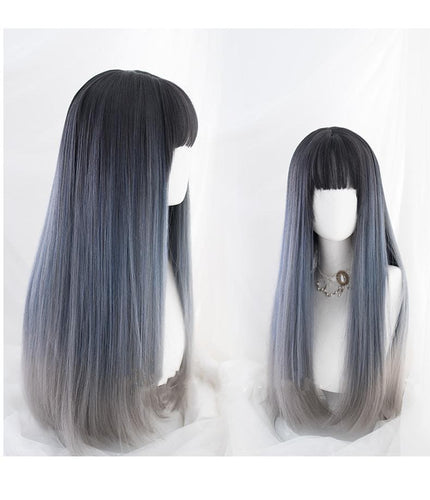 Elegant Lolita Dark Blue Gradient Long Straight Hair SP15772