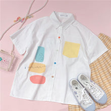 Load image into Gallery viewer, Sweet Blend Color Pocket  Preppy Style Short Sleeve Shirt SP15455