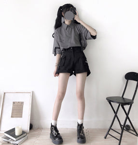 Retro Grey White Printed Shirt And Shorts Two-piece Set SP15057