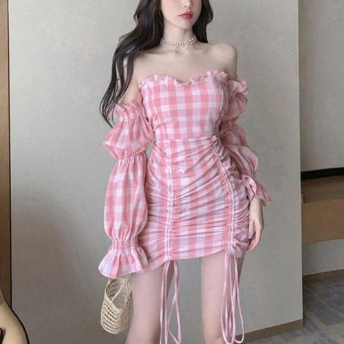 Sexy Pink Grid Off-Shoulder Draw String Dress SP15067