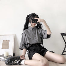 Load image into Gallery viewer, Retro Grey White Printed Shirt And Shorts Two-piece Set SP15057