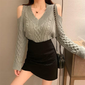 White/Grey/Black Off-shoulder V-neck Sweater SP14517