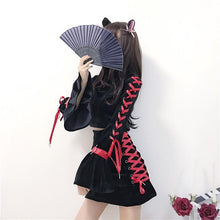 Load image into Gallery viewer, Chinese Qipao Black Velvet Cheongsam 2 Pieces Set SS0561