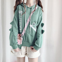 Load image into Gallery viewer, Green Kawaii Monster Fleece Hoodie Jumper SP14389