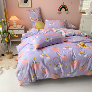 Kawaii Peach Print Bedding Set SP15605