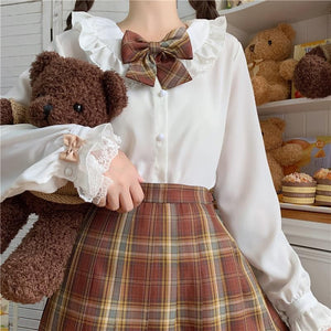 Lolita Doll Collared Jk Uniform Long Sleeves Shirt SP15454