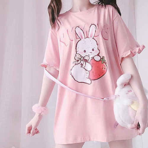 Pink Strawberry Rabbit Wave Sleeve T-shirt SP15060
