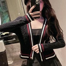 Load image into Gallery viewer, Black/White Preppy Style Stripe Cardigan Sweater SP14640
