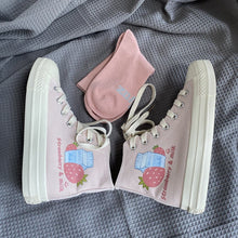 Load image into Gallery viewer, Sweet Pink Milk Strawberry Patterned High-top Canvas Shoes SP15316