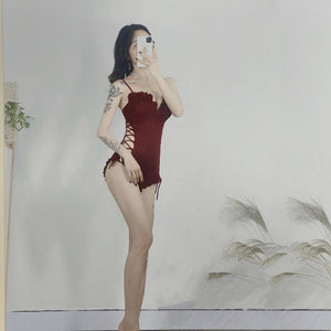 Burgundy Sexy Hollowed-up Onesie Swimsuit SS0479