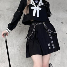 Load image into Gallery viewer, Preppy style Punk Gothic Girls Harajuku Embroidery Pleated Skirts Suit EG0593