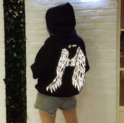 Free Ship Reflective Wings Black Hoodie Jumper SP14489
