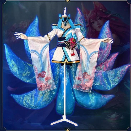 【Pre-Sale】LOL Ahri Original Version Lotus Flower Kimono Cosplay Costume SS0062