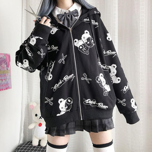 Dark Bear Print Cardigan with Zipper Hoodie Coat SP15235