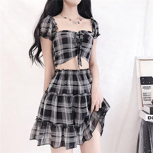 Sexy Off-shoulder Black White Check Two-piece Set SP15158