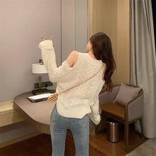 Load image into Gallery viewer, White/Grey/Black Off-shoulder V-neck Sweater SP14517 - SpreePicky FreeShipping
