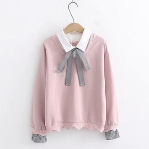 Pink/White Pastel Grid Bow Pullover Shirt SP14647 - SpreePicky FreeShipping