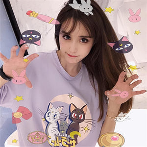 Purple Cartoon Sailor Moon Letters Print Short Sleeve T-shirt SP15157