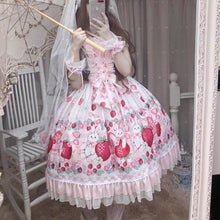 Load image into Gallery viewer, Lolita Strawberry Bunny Lace JSK Dress SP15290