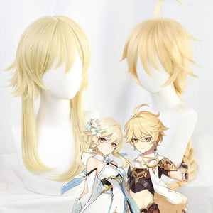 Genshin Impact Aether Lumine Traveler Player Golden Cosplay Wig SP15304