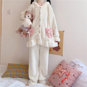 Cute Rabbit Ears Hooded Pajamas Set SP15477