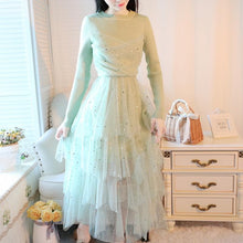 Load image into Gallery viewer, Pink/Beige/Green/Blue Knitted Patchwork Gauze Dress SP14642 - SpreePicky