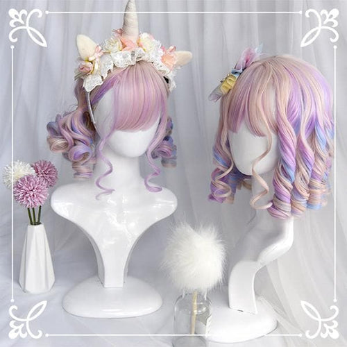 Pastal Pink Rainbow Unicorn Cute Romantic Roll Short Wig SS082