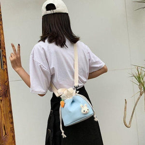 Cartoon Little Rabbit Drawing Rope Crossbody Bag SP15103
