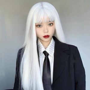 White Harajuku Gothic Girl Long Wig SP236