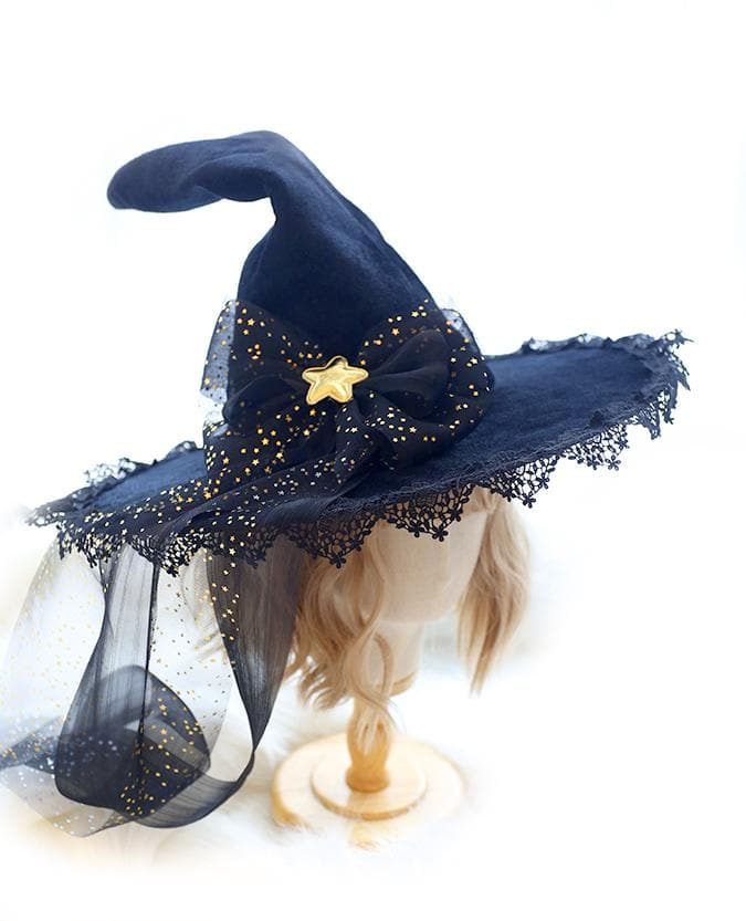 Halloween Black Lace Bow Witch Hat SS0622