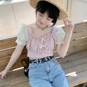 Sweet Summer Cute White Bow Short Sleeve Pink Top SP16178 - SpreePicky FreeShipping