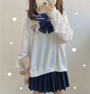 Navy Bear Print Bowknot Sweatshirt SP15332