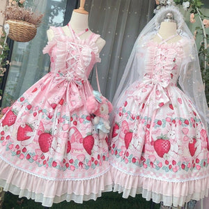 Lolita Strawberry Bunny Lace JSK Dress SP15290