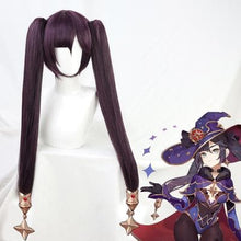 Load image into Gallery viewer, Mona Genshin Impact Purple Long Ponytail Straight Cosplay Wig SP15346