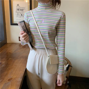 Sweet Rainbow Striped Heart Long Sleeve Turtleneck  Knitted Tops SP15155