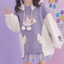 Load image into Gallery viewer, Kawaii Bear Rabbit Spliced Plush Warm Hoodie Pullover SP15303