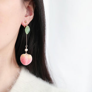 Cute Pink Fruit Peach Earrings SP15079
