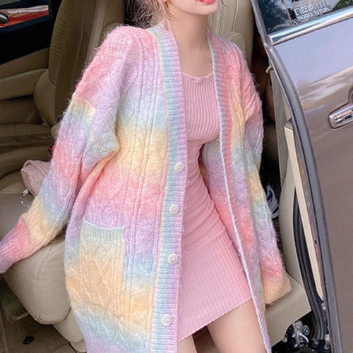 Rainbow Furry Sweater Coat SP15259