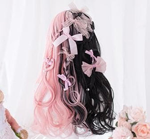 Black Pink Mix Long Lolita Wig SP14555