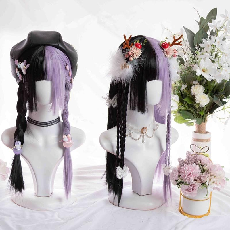 Half Black Half Purple Straight Hair Wig SP15248