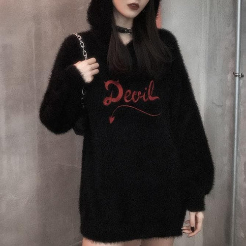 Devil Plush Black Long Sweater Jumper Dress SS026