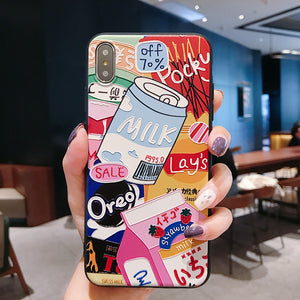 Snacks And Milk Phone Case for iphone 6/6s/6plus/7/7plus/8/8P/X/XS/XR/XS Max SP16562 - Harajuku Kawaii Fashion Anime Clothes Fashion Store - SpreePicky