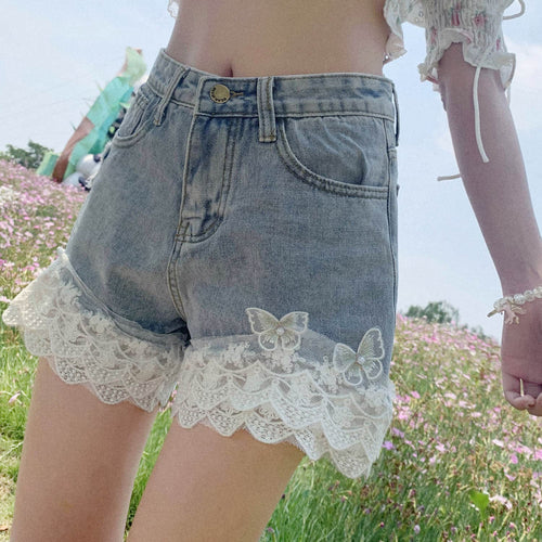 Chic Bow Lace High Waisted Jean Shorts SP15089