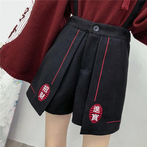 Black Fox Fairy High Waist Woollen Suspenders Shorts SP14586