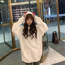 Load image into Gallery viewer, White Cute Little Devil Girl Red Horns Hoodie SS1675 - Harajuku Kawaii Fashion Anime Clothes Fashion Store - SpreePicky