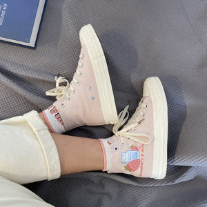 Sweet Pink Milk Strawberry Patterned High-top Canvas Shoes SP15316