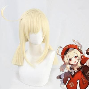 Genshin Impact Klee Pale Blonde Straight Twin Ponytails Cosplay Wig SP15323