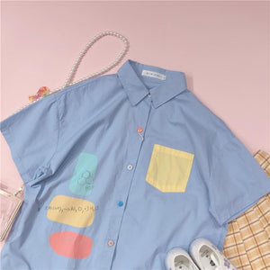 Sweet Blend Color Pocket  Preppy Style Short Sleeve Shirt SP15455